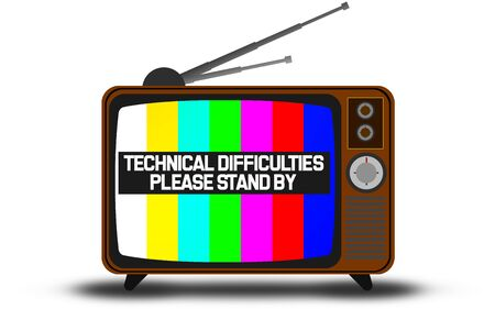 Retro television with technical difficulties warning , 3D rendering