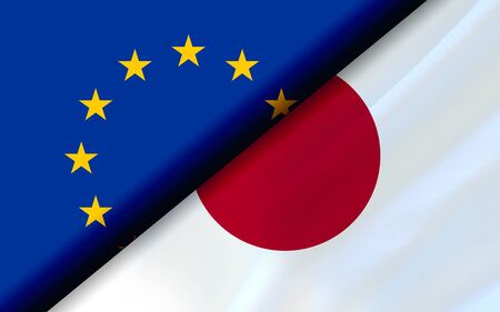 Flags of the EU and Japan divided diagonally. 3D rendering