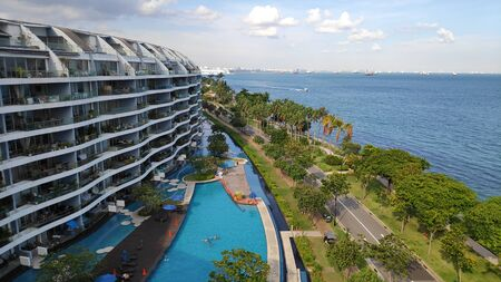 Singapore- 28 Oct, 2018: Condominium in Sentosa Cove with modern residence in Singapore Editoriali