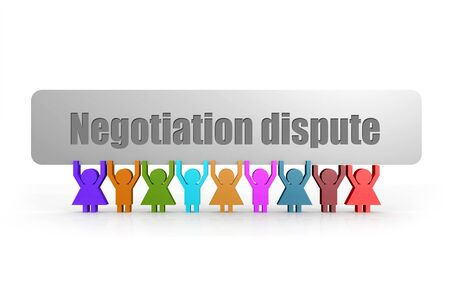 Negotiation dispute word on a banner hold by group of puppets, 3D rendering