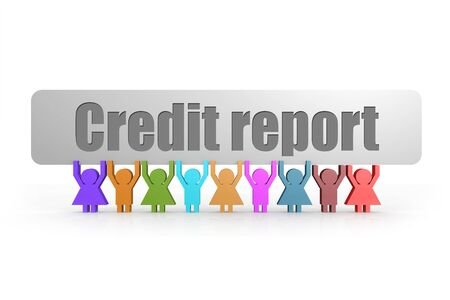 Credit report word on a banner hold by group of puppets, 3D rendering
