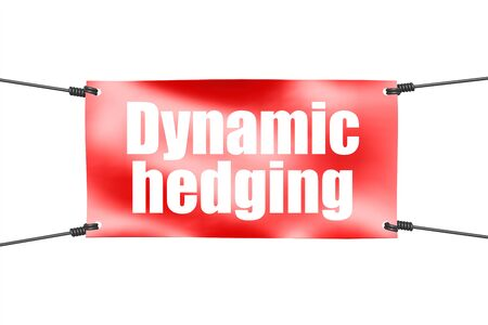 Dynamic hedging word with red tie up banner, 3D rendering 写真素材