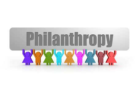 Philanthropy word on a banner hold by group of puppets, 3D rendering