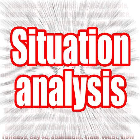 Situation analysis word with zoom in effect as background, 3D rendering 写真素材