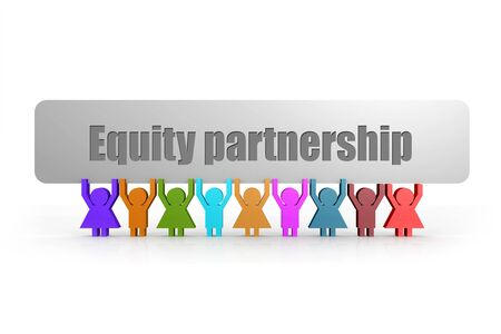 Equity partnership word on a banner hold by group of puppets, 3D rendering Reklamní fotografie