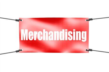 Merchandising word with red tie up banner, 3D rendering