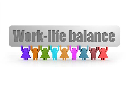 Work-life balance word on a banner hold by group of puppets, 3D rendering