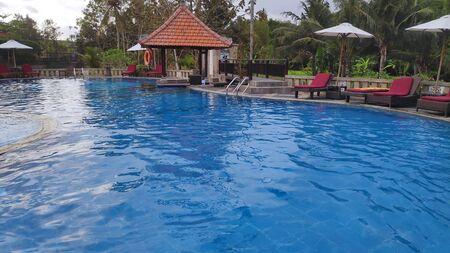 Swimming pool with deck chair, sun umbrella and exotic plants near the villa