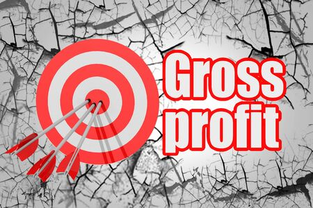 Gross profit word with red arrow and board, 3D rendering 免版税图像