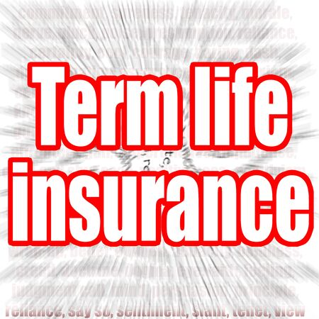 Term life insurance word with zoom in effect as background, 3D rendering Stock fotó