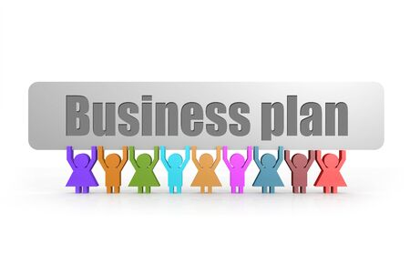 Business plan word on a banner hold by group of puppets, 3D rendering