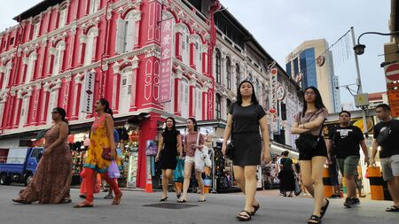 Singapore - Nov 02, 2019: Bustling street of Chinatown district in Singapore. Singapores Chinatown is a world famous bargain shopping destination. Stock fotó - 133786816