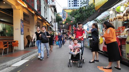 Singapore - Nov 02, 2019: Bustling street of Chinatown district in Singapore. Singapores Chinatown is a world famous bargain shopping destination. Stock fotó - 133786933