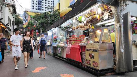 Singapore - Nov 02, 2019: Bustling street of Chinatown district in Singapore. Singapores Chinatown is a world famous bargain shopping destination. Stock fotó - 133786941