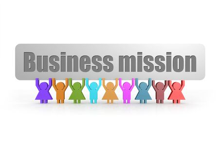 Business mission word on a banner hold by group of puppets, 3D rendering
