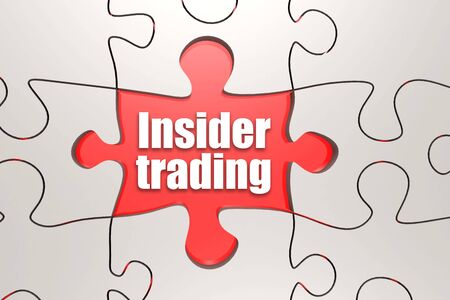 Insider trading word on jigsaw puzzle, 3D rendering