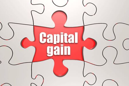 Capital gain word on jigsaw puzzle, 3D rendering
