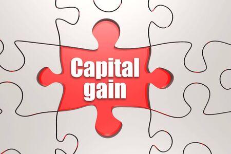 Palabra de ganancia de capital en rompecabezas, render 3d Foto de archivo