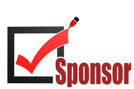 Sponsor word with check mark and pencil, 3D rendering
