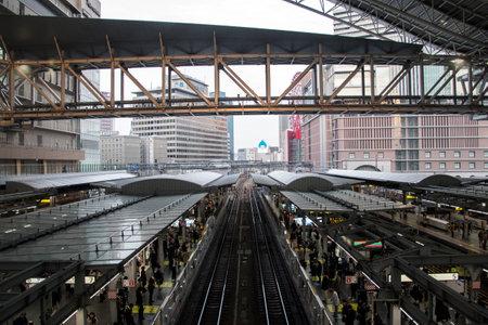 Osaka, Japan- 27 Nov, 2019: Interior view of famous Osaka train station building, Japan