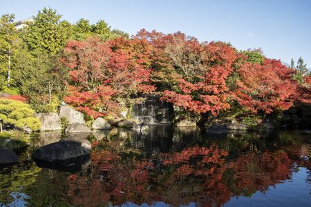 Koko-en garden with fall foliage colors near the small pond in Himeji Japan. Here is very famous to see autumn foliage colors during November Reklamní fotografie