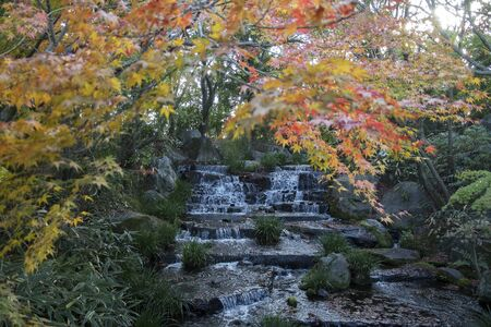 Waterfall and red autumn leave in Koko-en garden in Himeji, Japan
