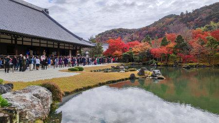 Kyoto, Japan-26 Nov, 2019: Beautiful zen garden in Tenryuji temple in Arashiyama, Kyoto, Japan. Kyoto has 17 UNESCO World Heritage Site landmarks.