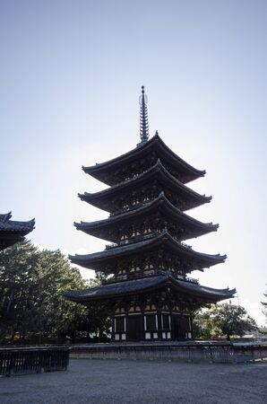 Nara, Japan- 27 Nov, 2019: The Five-Storied Pagoda of Kofukuji Temple in Nara, Japan. The temple was once one of the powerful Seven Great Temples in Nara, Japan. 新聞圖片