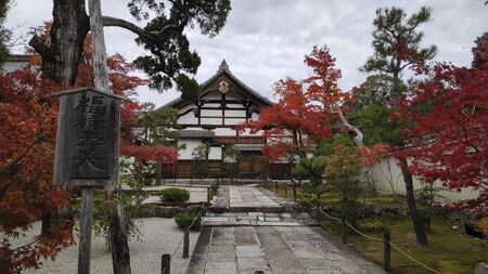 Kyoto, Japan-26 Nov, 2019: Autumn colored garden in Tenryuji temple during autumn season in Arashiyama Kyoto Japan 新聞圖片