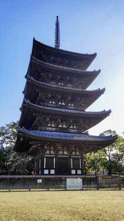 Nara, Japan- 27 Nov, 2019: The Five-Storied Pagoda of Kofukuji Temple in Nara, Japan. The temple was once one of the powerful Seven Great Temples in Nara, Japan 新聞圖片