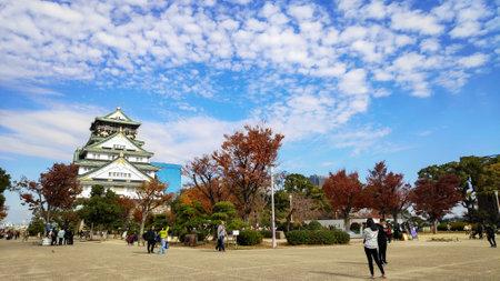 Osaka, Japan- 01 Dec, 2019: Tourist and people visit the Osaka castle in Osaka, Japan. It is the famous landmark and popular tourist destination of Osaka