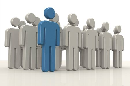 Blue puppet of the group. Leadership concept, 3D rendering Standard-Bild