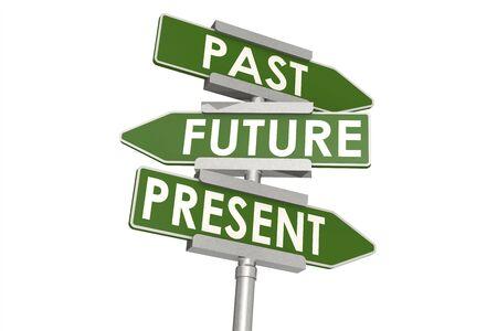 Passato futuro e presente parola sul cartello stradale, rendering 3D