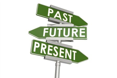 Past future and present word on road sign, 3D rendering