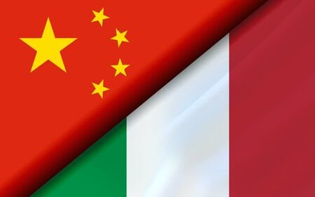 Flags of the China and Italy divided diagonally. 3D rendering Banco de Imagens