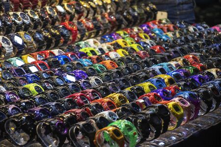 Johor Bahru, Malaysia- 27 Jan, 2020: Counterfeit or fake of watches for sales in the street in the night market in Johor Bahru, Malaysia.