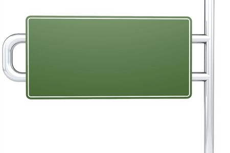 Blank green road sign, 3D rendering