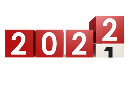 Year 2022 is coming on white background, 3D rendering Foto de archivo - 140896492