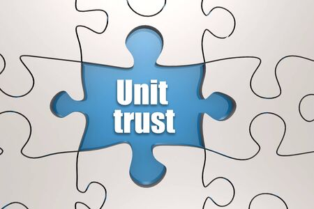 Unit trust word on jigsaw puzzle, 3D rendering