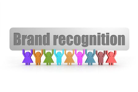 Brand recognition word on a banner hold by group of puppets, 3D rendering