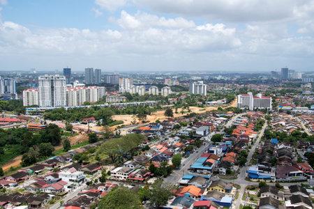 Johor Bahru, Malaysia- 20 Feb, 2020- Aerial view of Johor Bahru City. Johor Bahru is capital of the Malaysian state of Johor