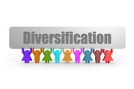 Diversification word on a banner hold by group of puppets, 3D rendering