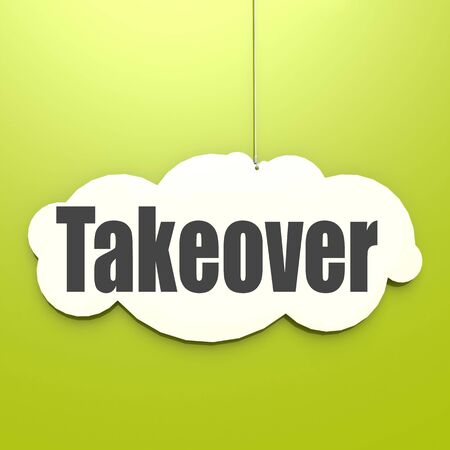 Takeover word on white cloud with green background, 3D rendering Фото со стока