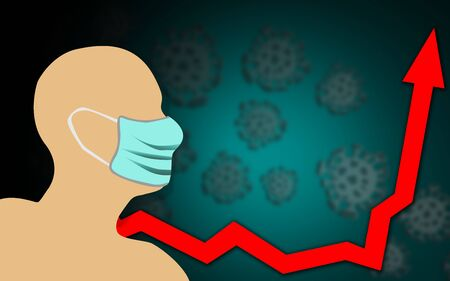 Head with protective mask next to graph showing infection growth, 3d rendering Stock Photo