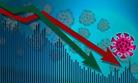 Virus pandemic effect on economic, 3D rendering Stock Photo