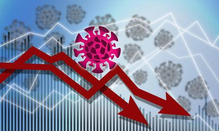 Economic impact of virus on global economy, 3D rendering