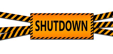 Shutdown sign between black and yellow striped ribbons isolated, 3d rendering 版權商用圖片