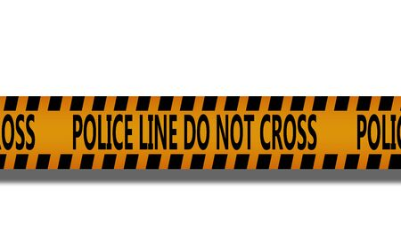 Caution yellow tape with police line do not cross word, 3d rendering