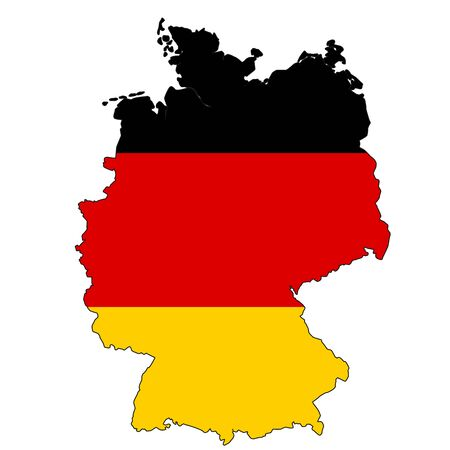Germany map with color of their flag, 3d rendering