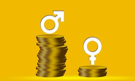 Different stacks of coins with male and female gender signs, 3d rendering